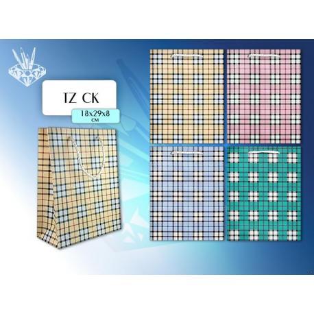 Пакет паперовий подарунковий 20*29*8 клітинка TZ СK-1