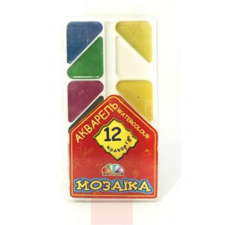 Фарба акварельна Мозаїка  12кол.