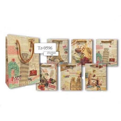 Пакет паперовий подарунковий 23*18*8 Подорож TZ 9596
