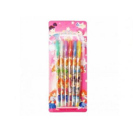 Набір гелевих ручка 6кол. JO F-012-6 Winx  блиск