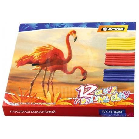 "Пластилін 12 кольорів ""AFRICA"", 240гр., картон Е60609"