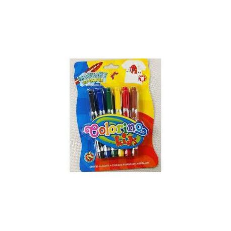 Маркери для тканин 6 кольорів COLORINO 15653PTR