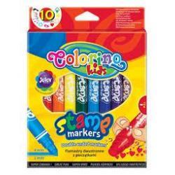 Фломастери 2-х сторонні зі штампиком 10 кольорів COLORINO 36092PTR