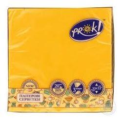 Серветки паперові PrOK 33*33 20шт/уп 2-шарові однотонні