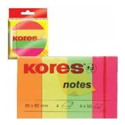 Стикер-закладка бумажная неон 20*50мм 200шт 4цв. К45104